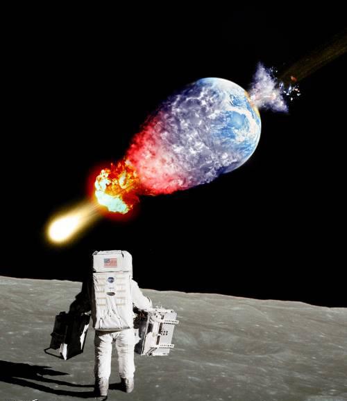 astronauta lua terra destruída