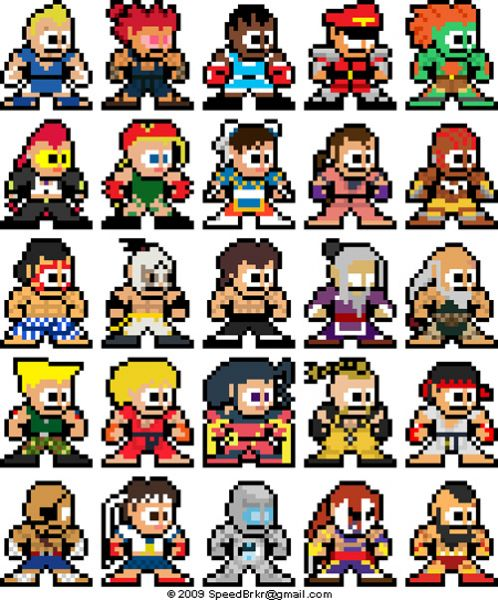 street fighter megaman pixelart