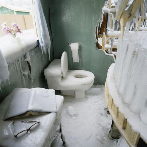 banheiro congelado