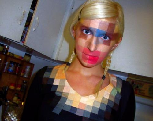 pixel face fantasia pixelada mulher loira